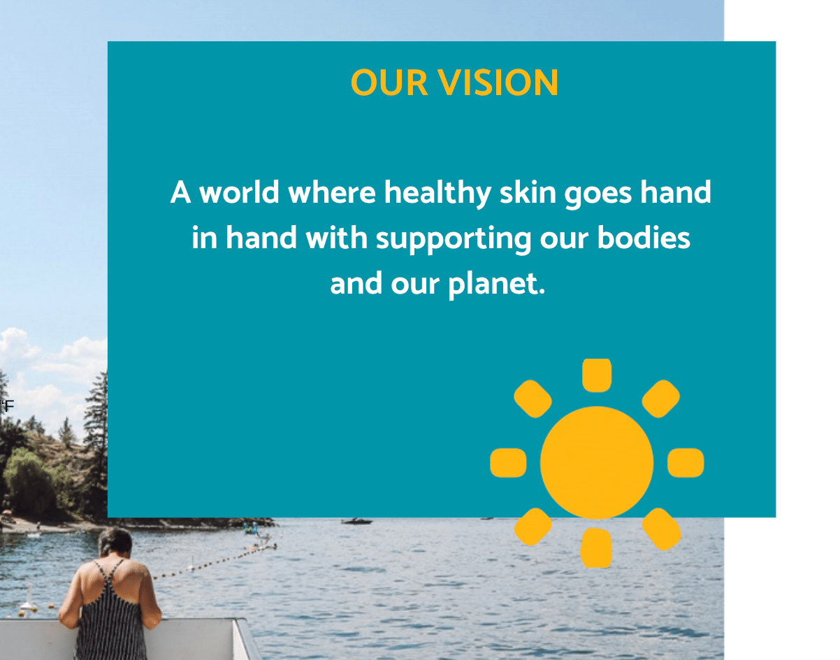 Our Vision: a world where healthy skin goes hand in hang with supporting our bodies anad our planet